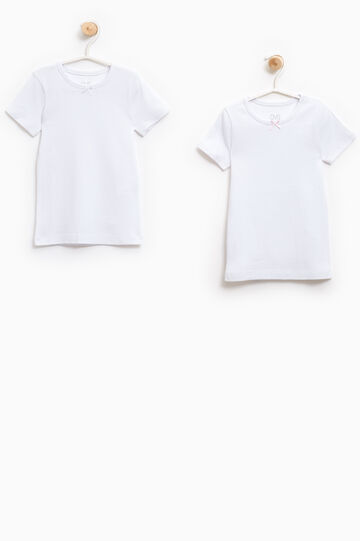 Two-pack undershirts with bow, White, hi-res