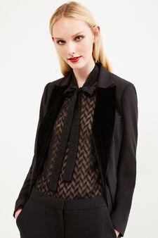 Stretch jacket with velvet collar, Black, hi-res
