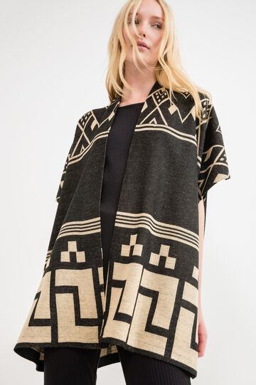 Wool blend poncho with geometric pattern, White/Black, hi-res