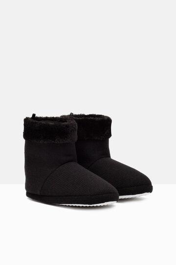 Solid colour slipper boots., Black, hi-res