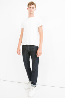 Slim fit, solid colour jeans with turned-up hems, Dark Wash, hi-res