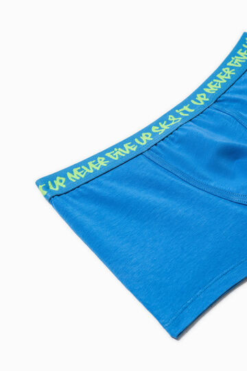 Stretch boxer shorts with lettering print, Deep Blue, hi-res