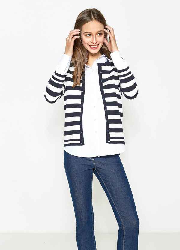 Cotton blend striped cardigan | OVS
