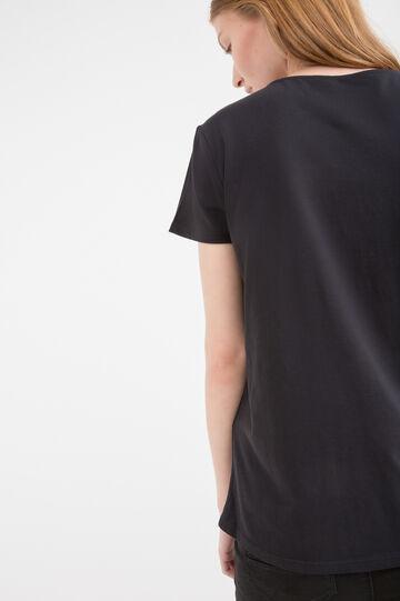 V-neck T-shirt in 100% cotton, Black, hi-res