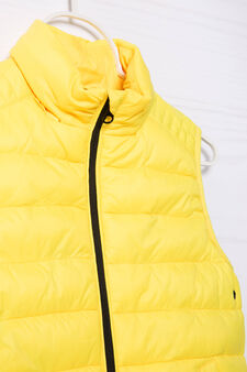 Quilted and padded jacket, Yellow, hi-res