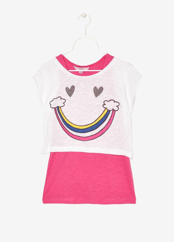 T-shirt con canotta a contrasto | OVS