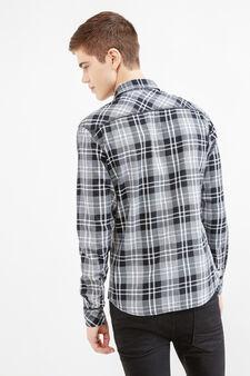 Camicia casual slim fit taschini petto, Nero/Grigio, hi-res