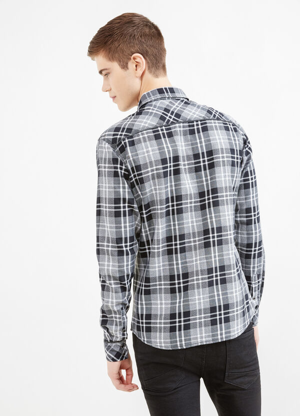 Casual slim-fit tartan shirt in cotton | OVS