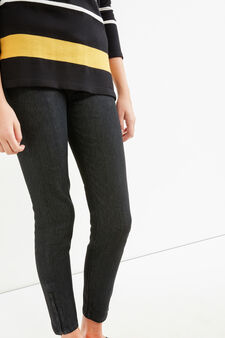Skinny-fit stretch jeans with zip, Black, hi-res