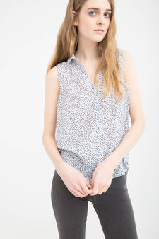 Sleeveless shirt with overlap, Blue, hi-res