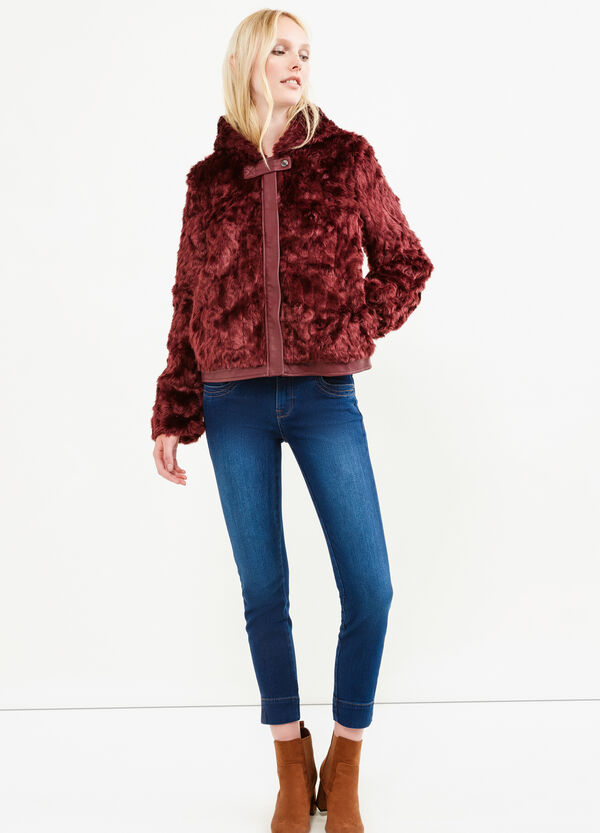 Faux fur jacket with leather look insert | OVS