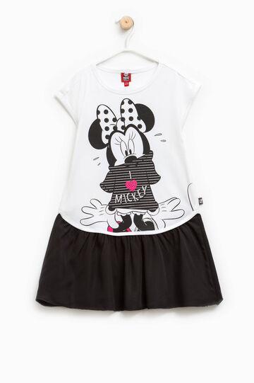 Vestido de algodón con estampado de Minnie, Blanco/Negro, hi-res