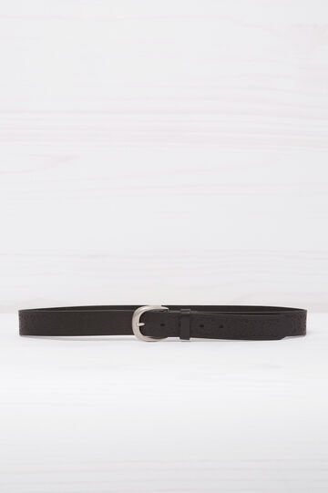 Real leather belt with engravings, Black, hi-res