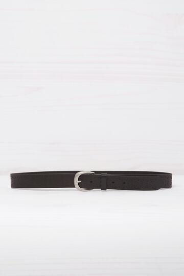 Cintura vera pelle con incisioni, Nero, hi-res