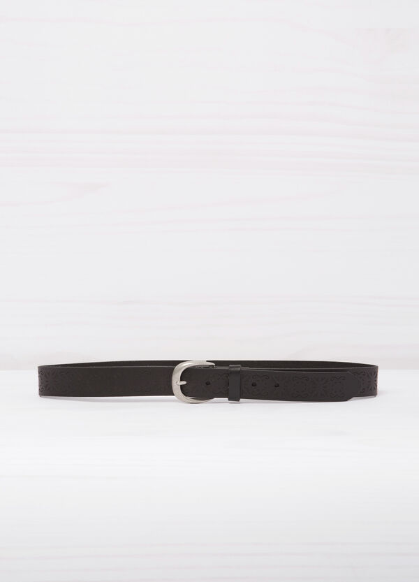 Real leather belt with engravings | OVS