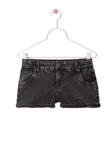 Stretch faded denim shorts, Black, hi-res
