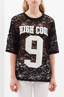 Semi-sheer printed T-shirt, Black, hi-res