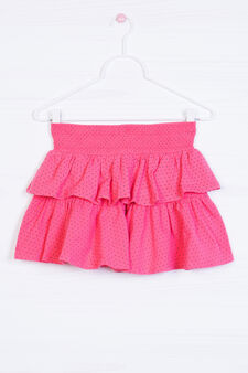 Stretch skirt with patterned frills, Coral Pink, hi-res