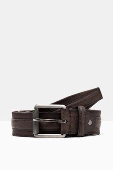 Belt with central insert, Dark Brown, hi-res