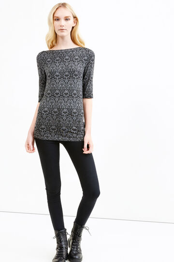 Patterned T-shirt in stretch viscose, Black/Grey, hi-res