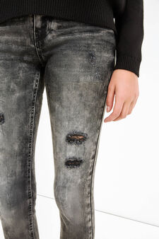 Ripped, skinny-fit stretch jeans, Black, hi-res