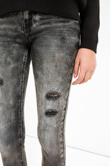 Jeans skinny fit stretch con strappi, Nero, hi-res