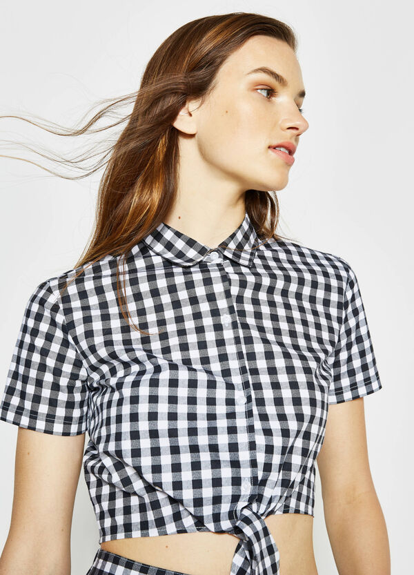 Crop check shirt in 100% cotton | OVS