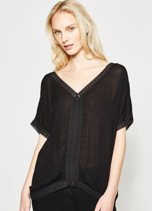 Blouse with laces and trim | OVS