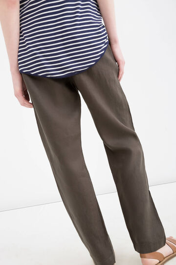 Solid colour 100% linen trousers, Green, hi-res