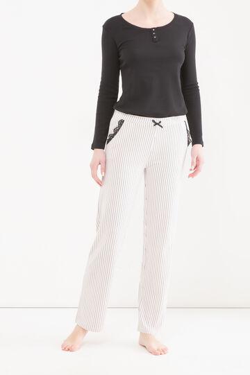 Striped stretch pyjama trousers, White/Pink, hi-res