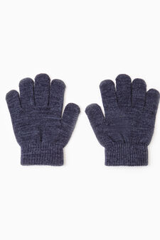 Solid colour knitted gloves, Navy Blue, hi-res