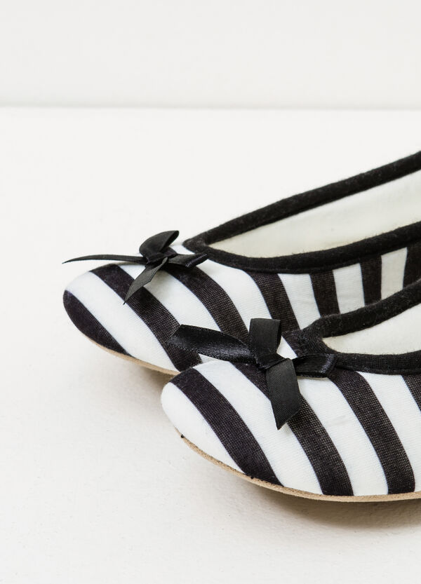 Ballerina flat slippers with striped pattern | OVS