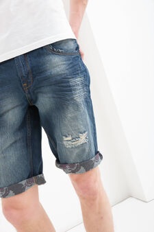 Bermuda di jeans slim fit strappi, Denim, hi-res