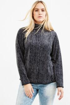 Curvy fleece gym hoodie with pattern, Grey, hi-res