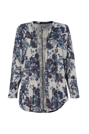 Smart Basic floral cardigan, Grey, hi-res