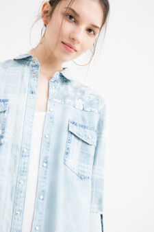 Printed shirt in 100% cotton, Denim Blue, hi-res