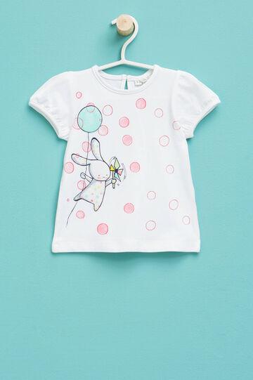 T-shirt con maniche a sbuffo, Bianco, hi-res