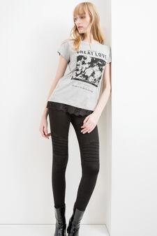 T-shirt cotone viscosa ricami floreali, Grigio melange, hi-res