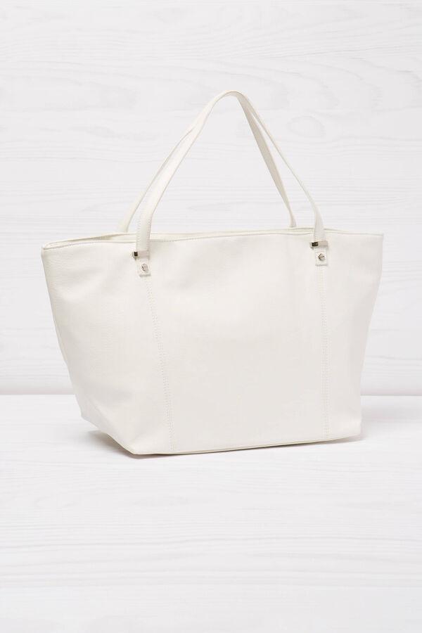 Solid colour leather look shoulder bag. | OVS