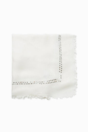 Viscose scarf with sequins, Cream White, hi-res
