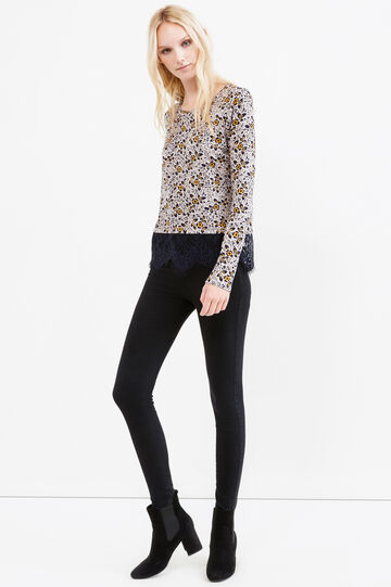 Stretch viscose floral T-shirt with lace, Blue/Yellow, hi-res