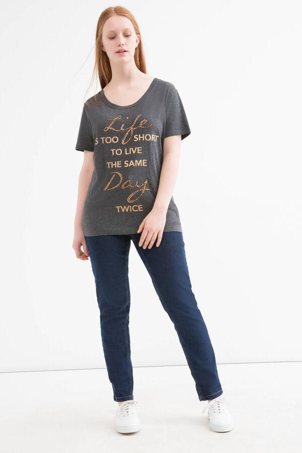 Curvy printed 100% cotton T-shirt | OVS