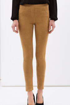 Stretch leggings with faux pockets, Brown, hi-res