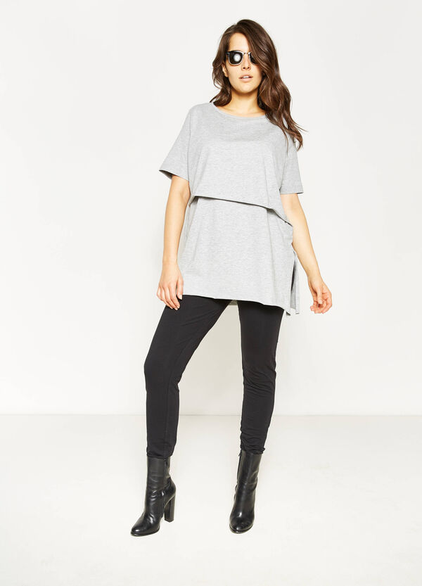 Curvy faux-layered stretch T-shirt | OVS