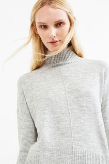 Stretch maxi turtleneck with knit design, Grey, hi-res
