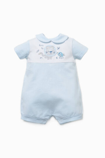 Embroidered two-tone romper suit, White/Light Blue, hi-res