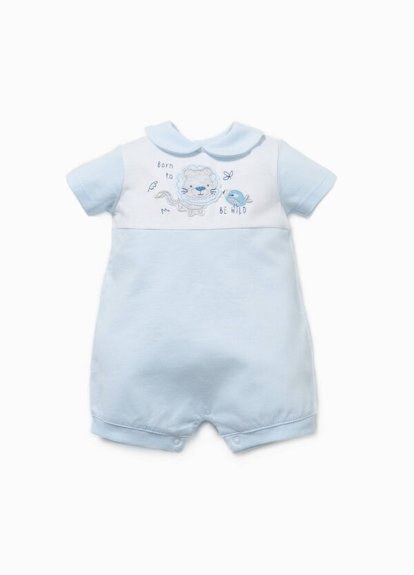 Embroidered two-tone romper suit | OVS