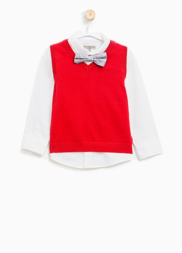 Cotton shirt with bow-tie and gilet | OVS