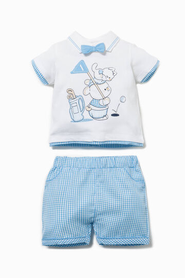 Micro check and animal patches outfit, White/Light Blue, hi-res