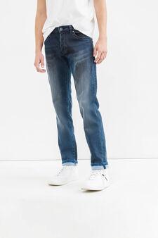 Slim fit, worn-effect jeans with turn-ups, Dark Wash, hi-res